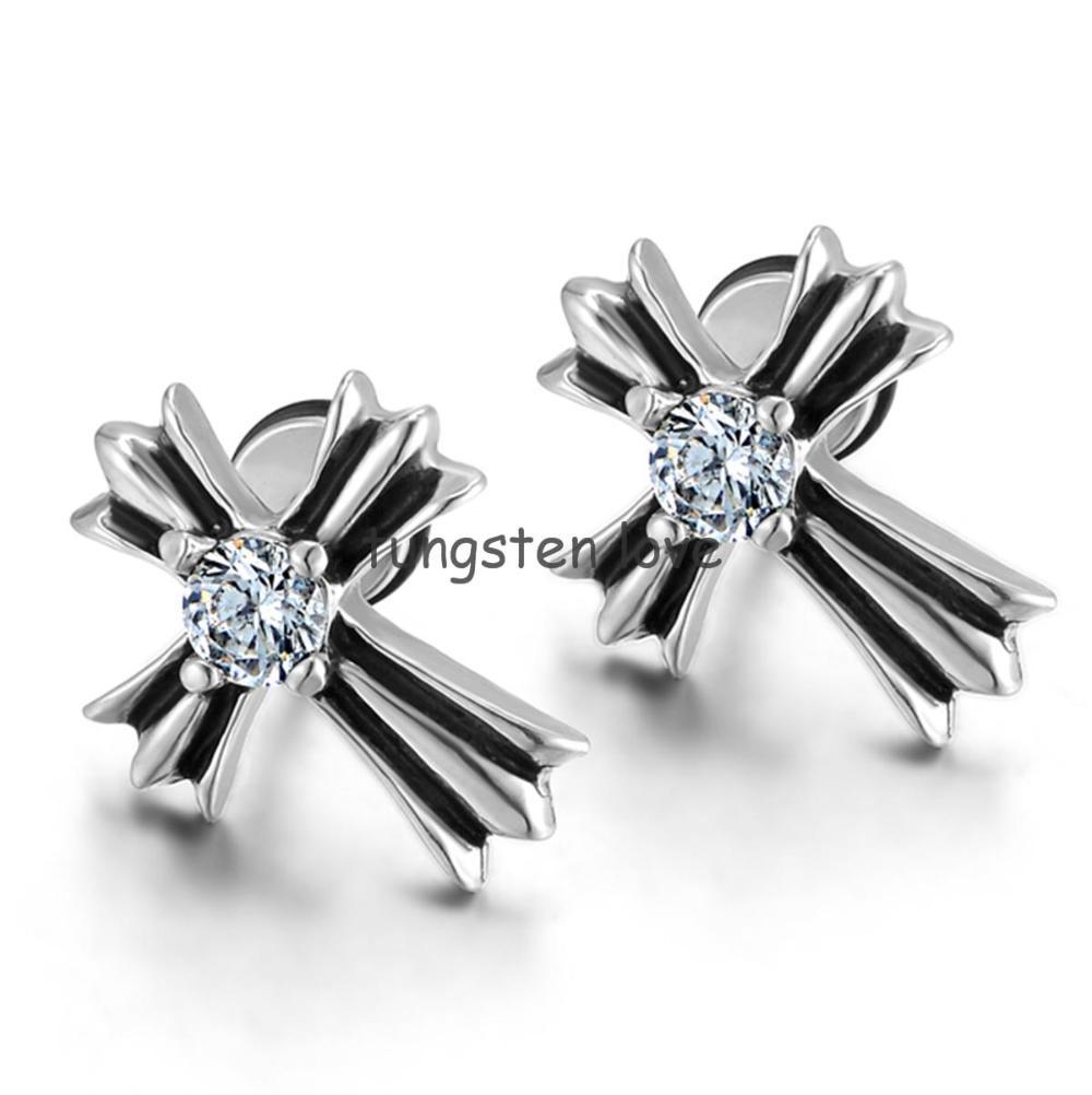 New Stainless Steel Crystal Cross Stud Earring For Men Women Fake Ear Plugs  Faux Earring Stud