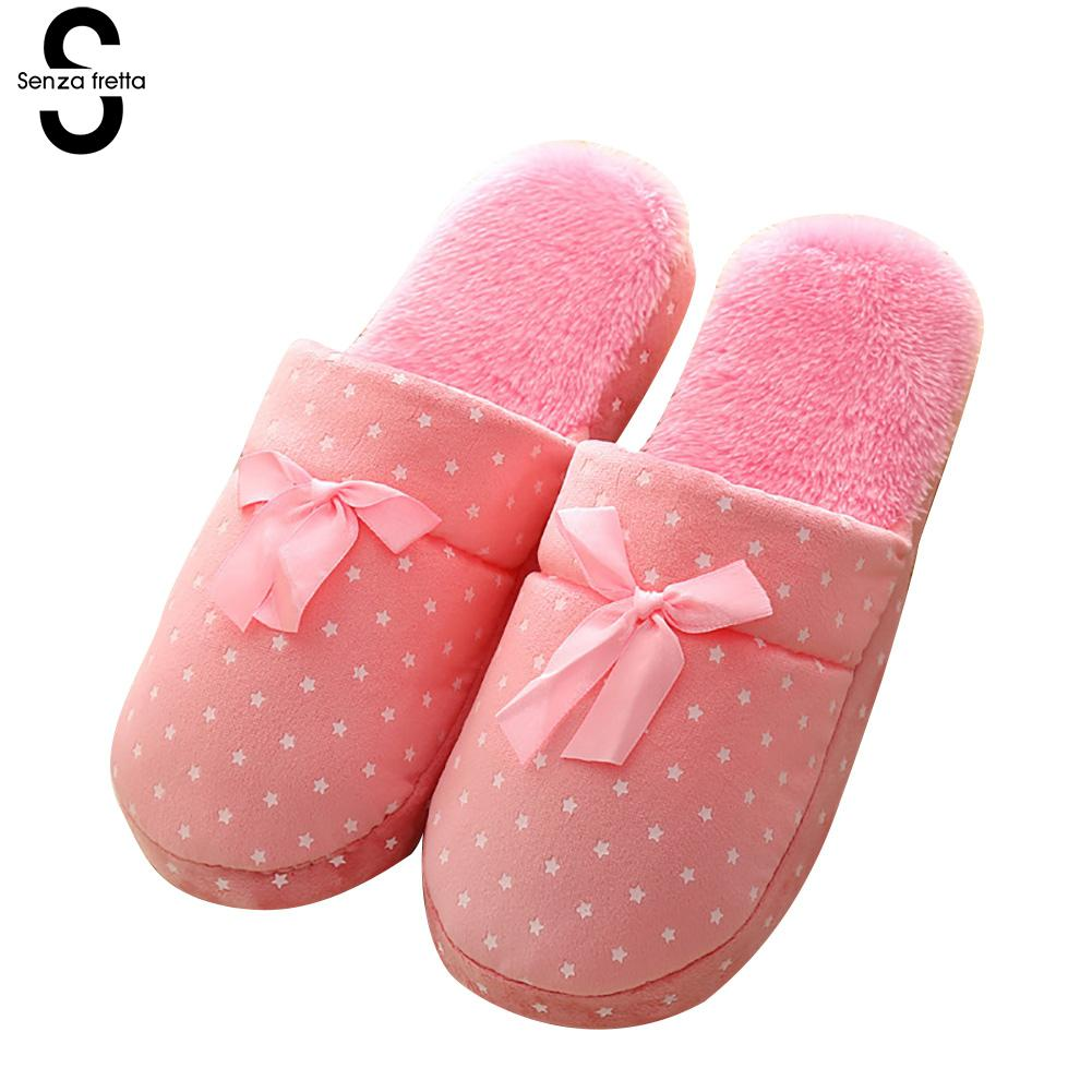 Senza Fretta Winter Warn Plush Slippers Indoor Butterfly Cotton Soft Bottom Slippers Couple Non-slip Warm Slippers Women Shoes soft house coral plush slippers shoes white