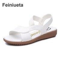 Feiniueta 2018 New Sandals Female Summer Flat Wild Summer Pregnant Mother Anti Skid Ladies 41 Large