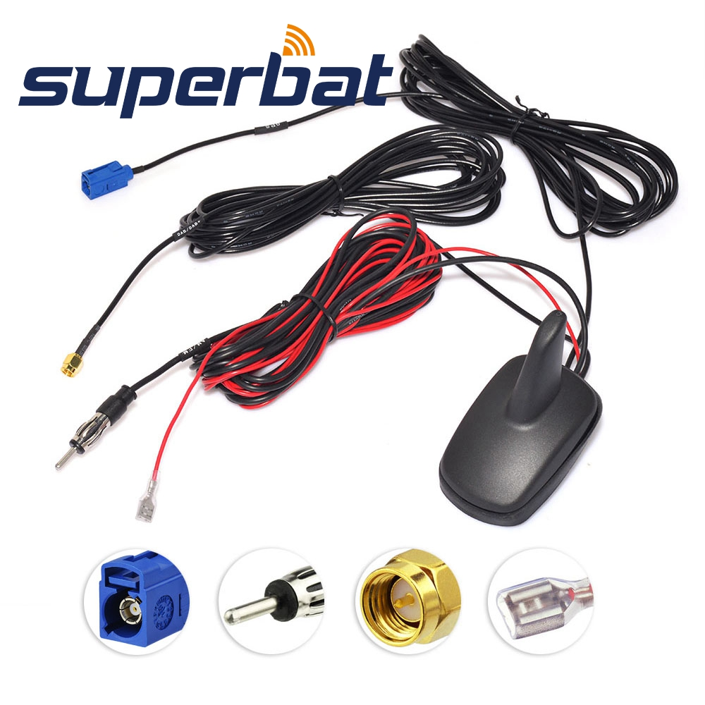 Antenne de montage aérien amplifiée par Radio numérique Superbat DAB/DAB +/GPS/FM/AM pour voiture