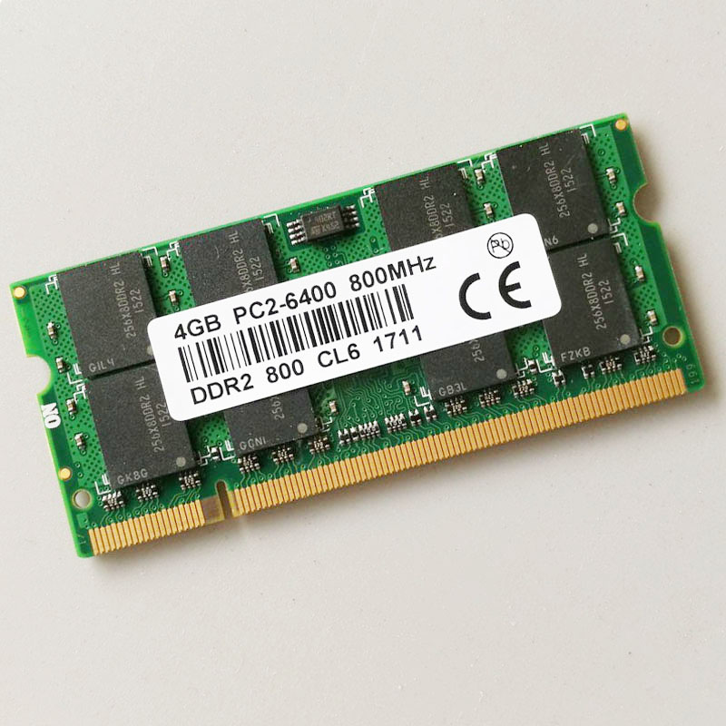4 GB PC2-6400S DDR2-800 4G 800 Mhz DDR2 Ordinateur Portable Mémoire SODIMM RAM Portable Non-Ecc 200pin 2RX16 Faible densité CL6.0