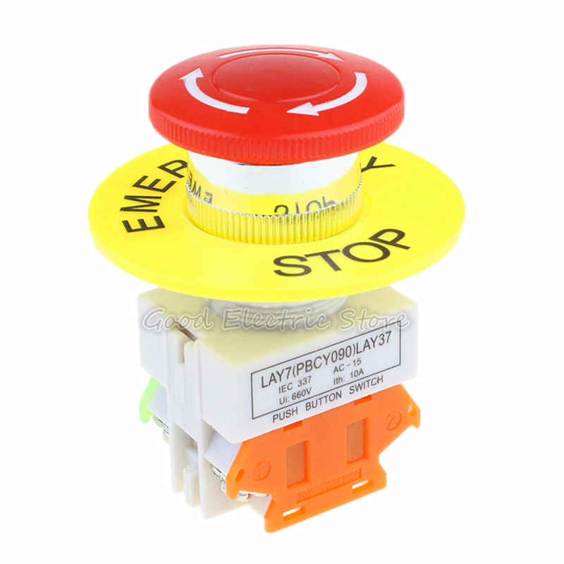 1PCS LAY37-11ZS Red Mushroom Cap 1NO 1NC DPST Emergency Stop Push Button Switch AC 660V 10A E-stop Switch