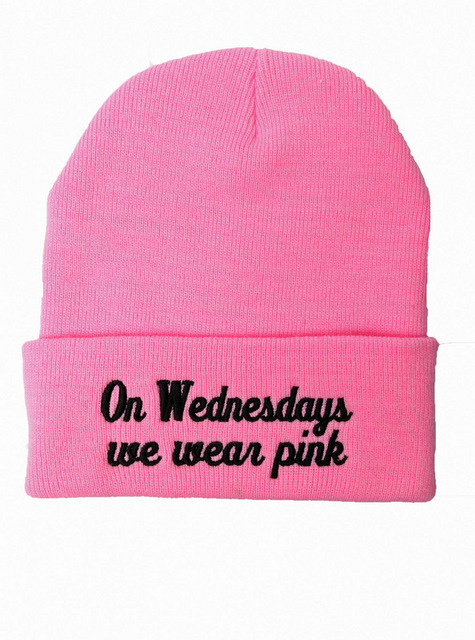 2016 nueva Beanie los miércoles nos desgaste rosa sombrero de invierno de punto gorras y sombreros para hombre y mujeres