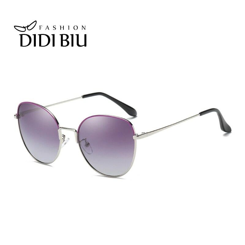 263ee4d9afa31 DIDI 2018 Polarized Sunglasses For Women Brand Silver Metal Frame Vintage  Sun Glasses Cat Eye Driving
