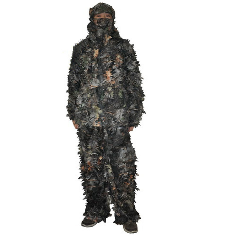 Hunting Clothes New 3D Maple Leaf Bionic Ghillie Suits Yowie Sniper Birdwatch Airsoft Camouflage Clothing Jacket and Pants free shipping us army bionic sniper ghillie suits camouflage grass burlap hunting recon yowie suit paintball military clothing