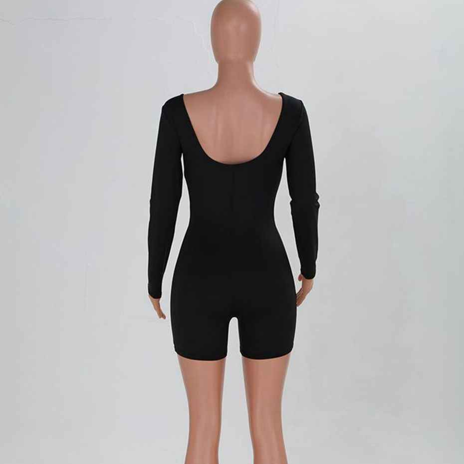 HAOYUAN сексуальный облегающий костюм комбинезон с длинным рукавом Уличная черный, белый цвет дамы Одна деталь короткий комбинезон Для женщин комбинезоны