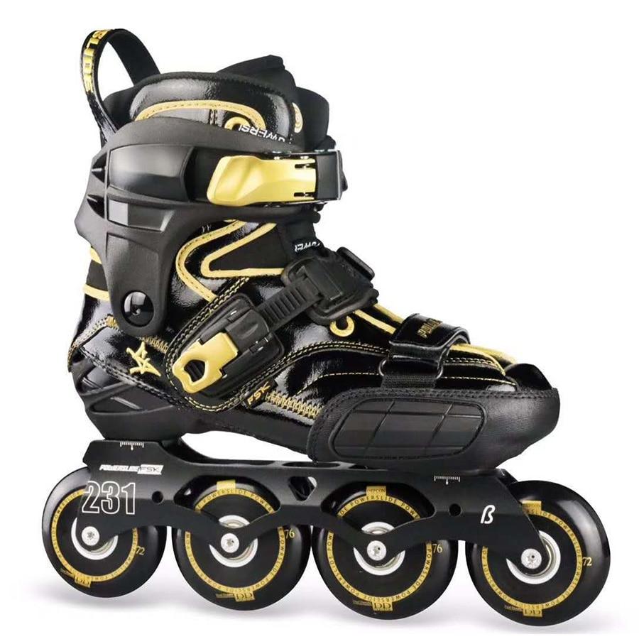 2019 Black Golden POWERSLIDE S4 Professional Slalom Skates Adult Roller Skating Shoes Sliding Free Skating Patines Inline Skates