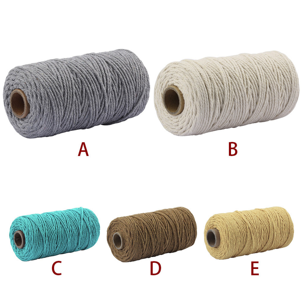 100 Yards Thread Braided Cotton Rope Crafts Macrame Cord String Twisted 2mm