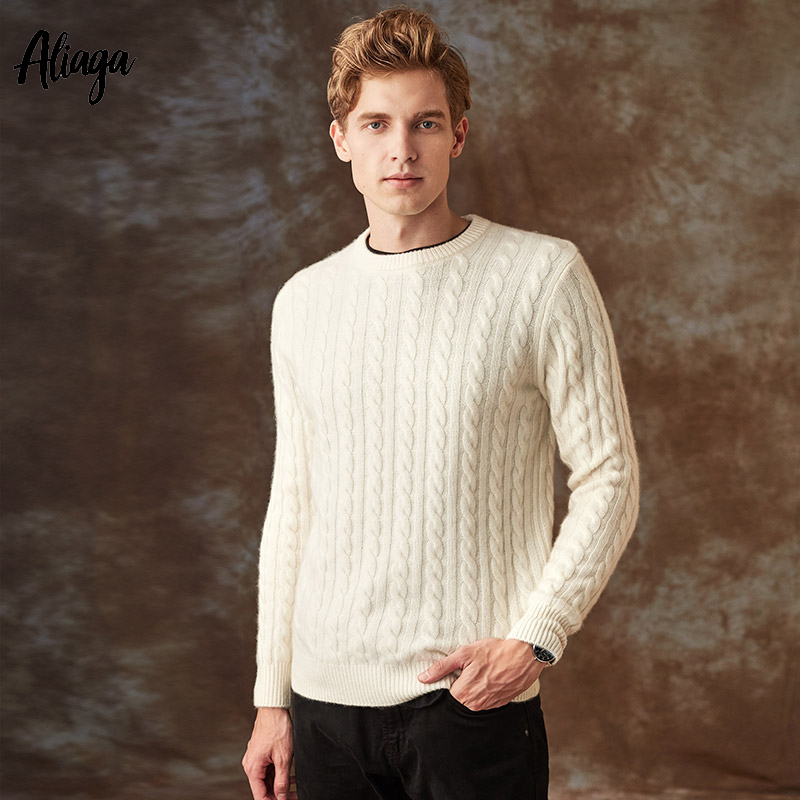 High Quality 100% Cashmere Sweater Men Pullovers Thick Cable Knitted Sweaters White O-neck Large Size Brand Winter Casual Jumper