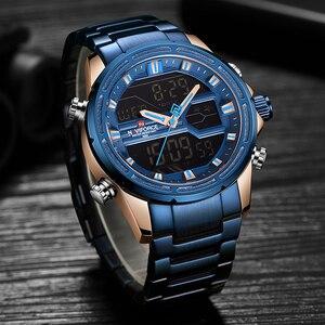 Image 4 - NAVIFORCE relojes deportivos para hombre, reloj Digital LED de cuarzo, de pulsera militar de acero completo, Masculino