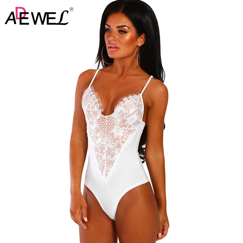 ADEWEL Female Floral Lace Sexy V-neck Bodysuits Black/White Sleeveless Nude Lining Bodysuit Summer 2019 Woman Body Top Clothes