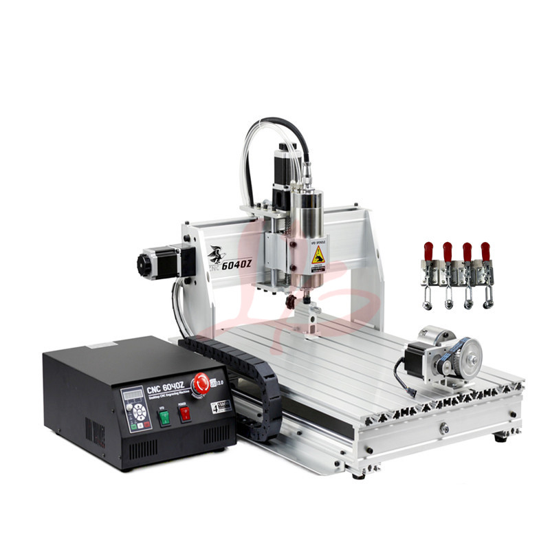 4 aixs PCB máquina de gravura do cnc 6040Z 1500kw água de refrigeração do eixo router madeira porta USB Mach 3 com cortador livre vise pinça