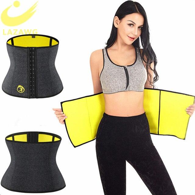 LAZAWG Women Waist Trainer Tummy Control Belt Waist Trimmer Weight Lost Corset Neoprene Sweat Sauna Strap Slimming Underwear 3