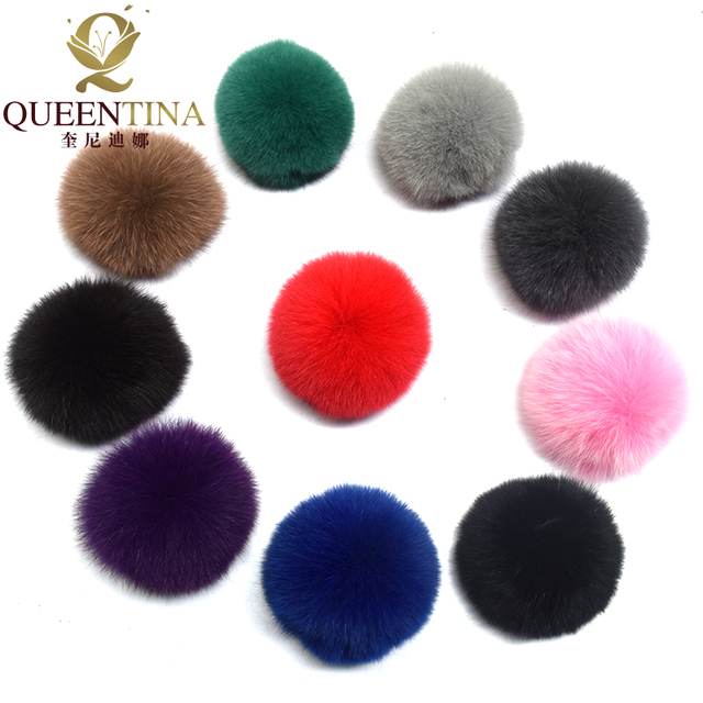Real Fox Fur Pompom Genuine Fur Pom Poms Ball for Hats&Caps Big Natural Fur Pompon Ball For Shoes Bags Accessories Candy Colors