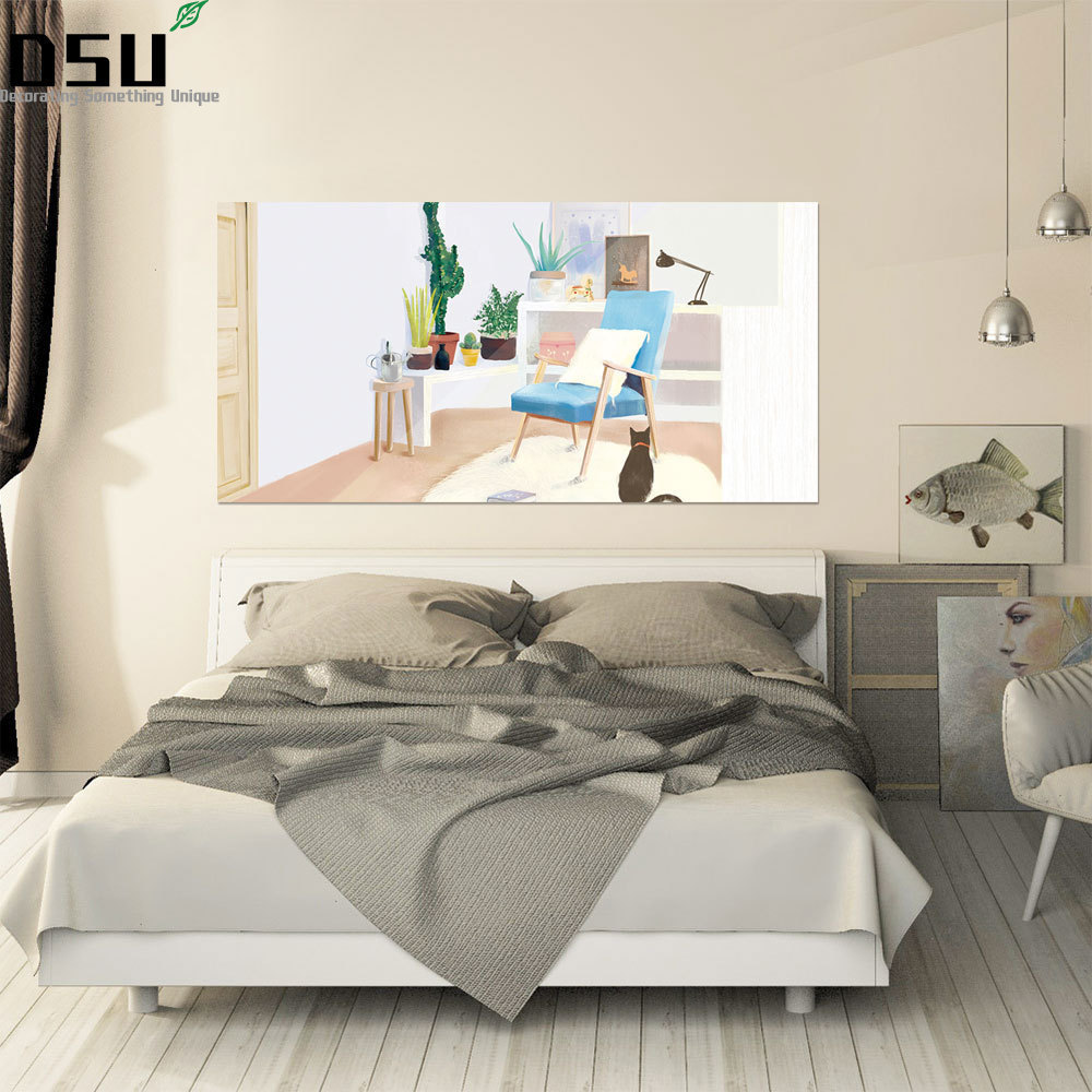 Unique Bedroom Wallpaper Warm Green Bedroom Colors Boys Bedroom Furniture Feng Shui Bedroom Bed Position: Creative Green Plants Floral Stickers Bed Headboard Wall