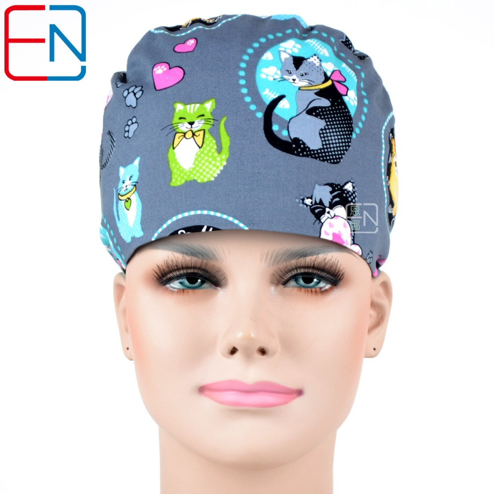 Hennar Surgical Scrub Cap For Women Hospital Doctor Medical Scrub Caps Masks Adjustable Size Freely Nurse Printing Surgical Caps