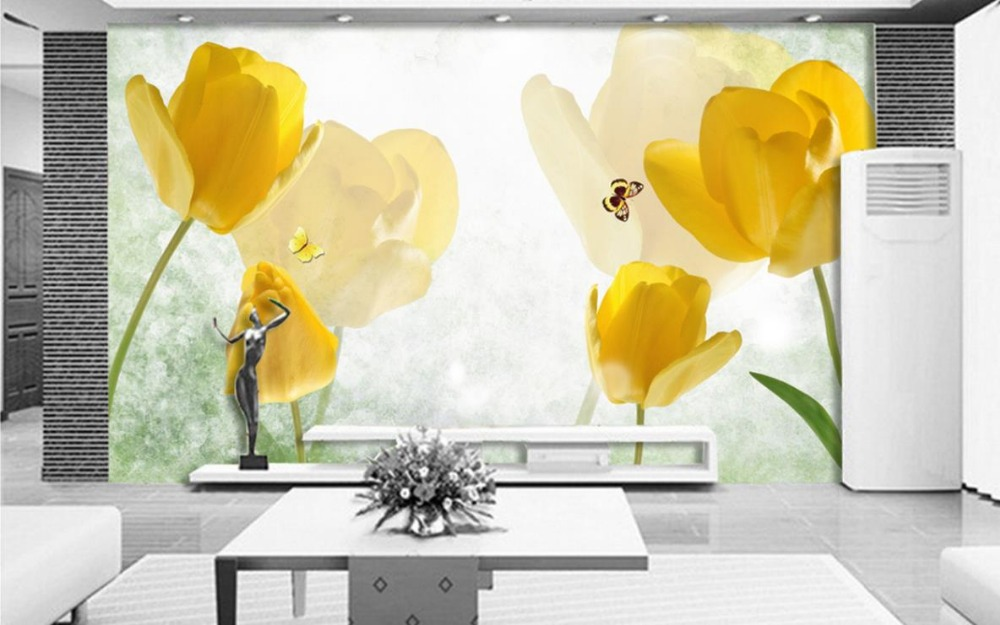 3d wall murals Retro yellow tulip butterfly photo wallpaper for ...