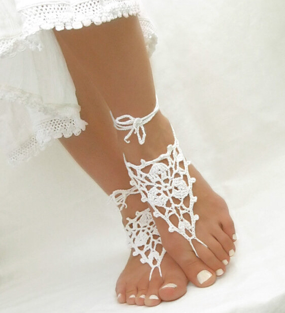 Crochet Barefoot Sandals Beach Pool Wear Toe Ring Anklet Shoes Foot Jewelry Victorian Lace Yoga