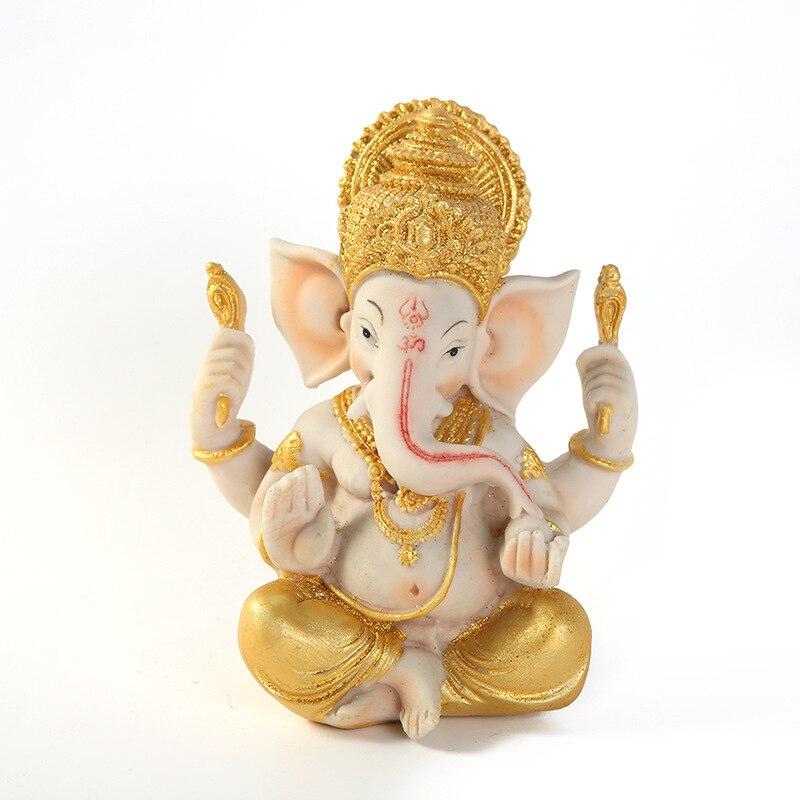 Résine artisanat hindou dieu Statue décoration résine artisanat Figurine décoration de la maison cadeau à la main éléphant Statue Sculpture ornement