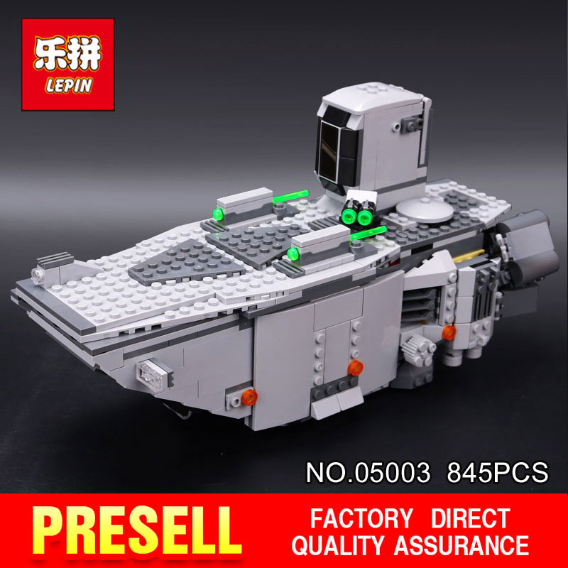 все цены на LEPIN 05003 Star 845Pcs toy Wars Force Awakens First Order Transporter Toys Building Blocks classic model Educational DIY 75103 онлайн