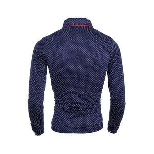Image 5 - Heren Polo Shirt Merk Nieuwe 2019 Mannelijke Lange Mouwen Fashion Casual Slim Polka Dot Pocket Knop Polos Mannen Jerseys