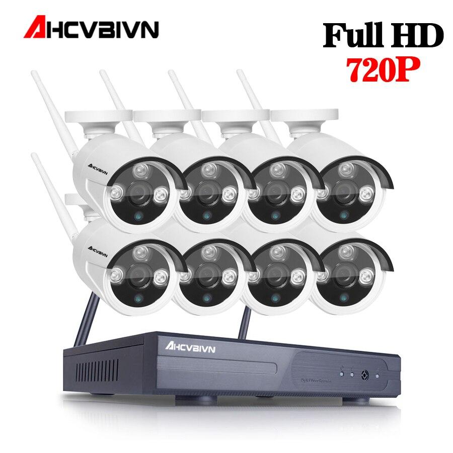 AHCVBIVN CCTV System 1080P 8CH HD 1.0mp Wireless kit Night Vision IP Camera wifi CCTV Camera kit Home Security System