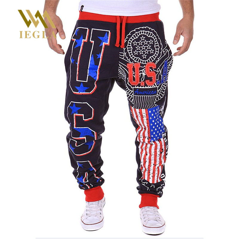 Male Trousers Pants Joggers Hiphop Loose Street Casual Star-Printing Dance Hots Men