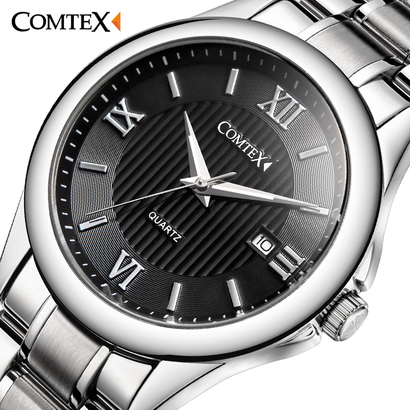 ФОТО COMTEX Men Quartz Watch army luminous Stainless Steel Roman Numeral big dial watch Classic Fashion Brand character Watch for Men