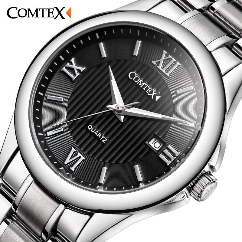 COMTEX Men Quartz Watch army luminous Stainless Steel Roman Numeral big dial watch Classic Fashion Brand
