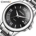 Comtex hombres reloj de cuarzo ejército luminoso número romano reloj grande del dial de acero inoxidable clásico de la marca de moda reloj de caracteres para los hombres