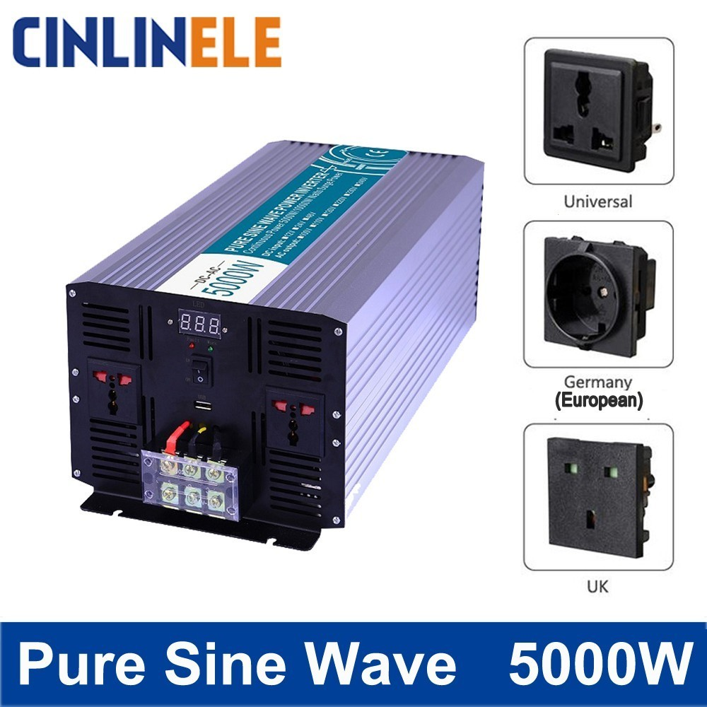 цена на Smart Pure Sine Wave Inverter 5000W CLP5000 DC 12V 24V 48V to AC 110V 220V Smart Series Solar Power 5000W Surge Power 10000W