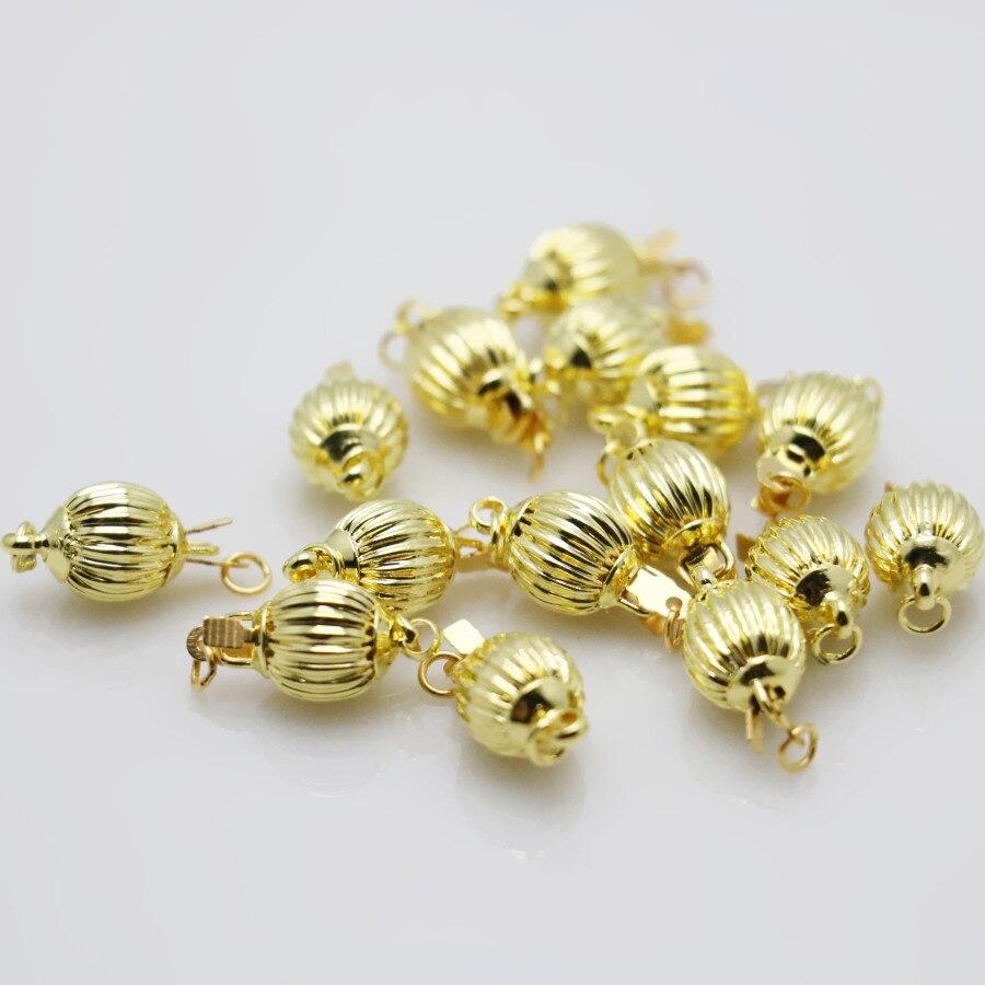 d3245e976345 10 unids al por mayor caliente de oro cuentas linterna accesorios del botón  para la joyería accesoria que hace diseño mecanizado de piezas de metal 8mm