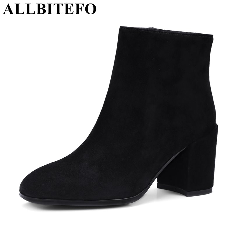 Фотография ALLBITEFO thick heel Nubuck leather high quality women boots fashion brand high heels winter boots girls boots large size:33-43