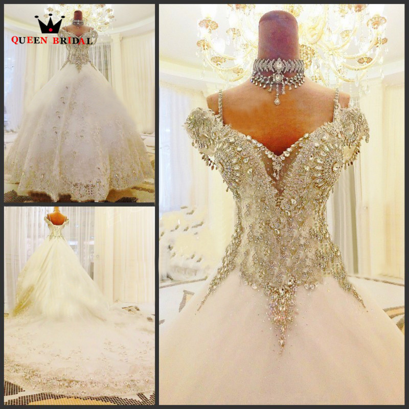 Custom Made 2020 New Design Empire Crystal Beading Lace Big Train Luxury Wedding Dresses Wedding Gown Free Shipping TZ36