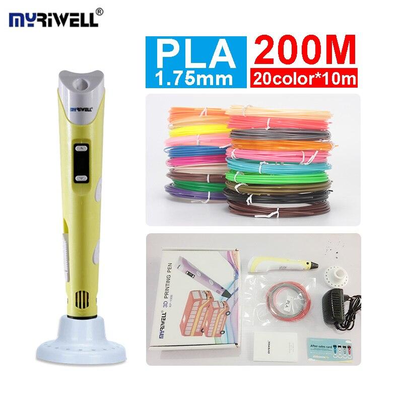 Myriwell 3d printer pen , LED display, ABS / PLA Filament, 3d creative pen, Best offer for kids, 3d printing pen 3d model