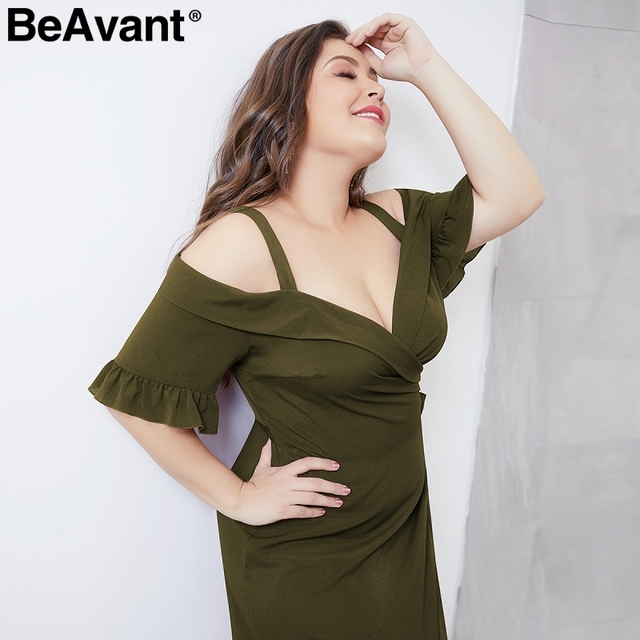 BeAvant Elegant cold shoulder plus size dress women V neck short sleeve summer dresses Casual wrap midi ladies dresses vestidos 4