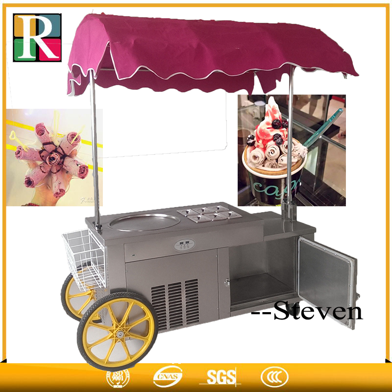 Factory price RL 1D6AT fried ice cream roll maker fry ice cream machine trailer fried Ice cream roll machine|Ice Cream Makers| |  - title=