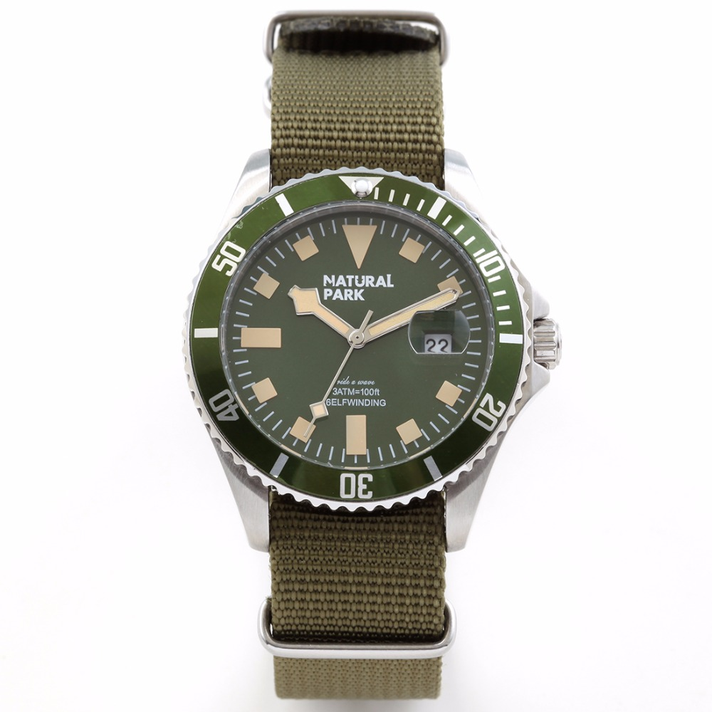 ФОТО Sport Watches For Men military Brand Luxury Quartz Casual Wristwatch NATURAL PARK relogio masculino  Nylon Strap NP1319-GRN