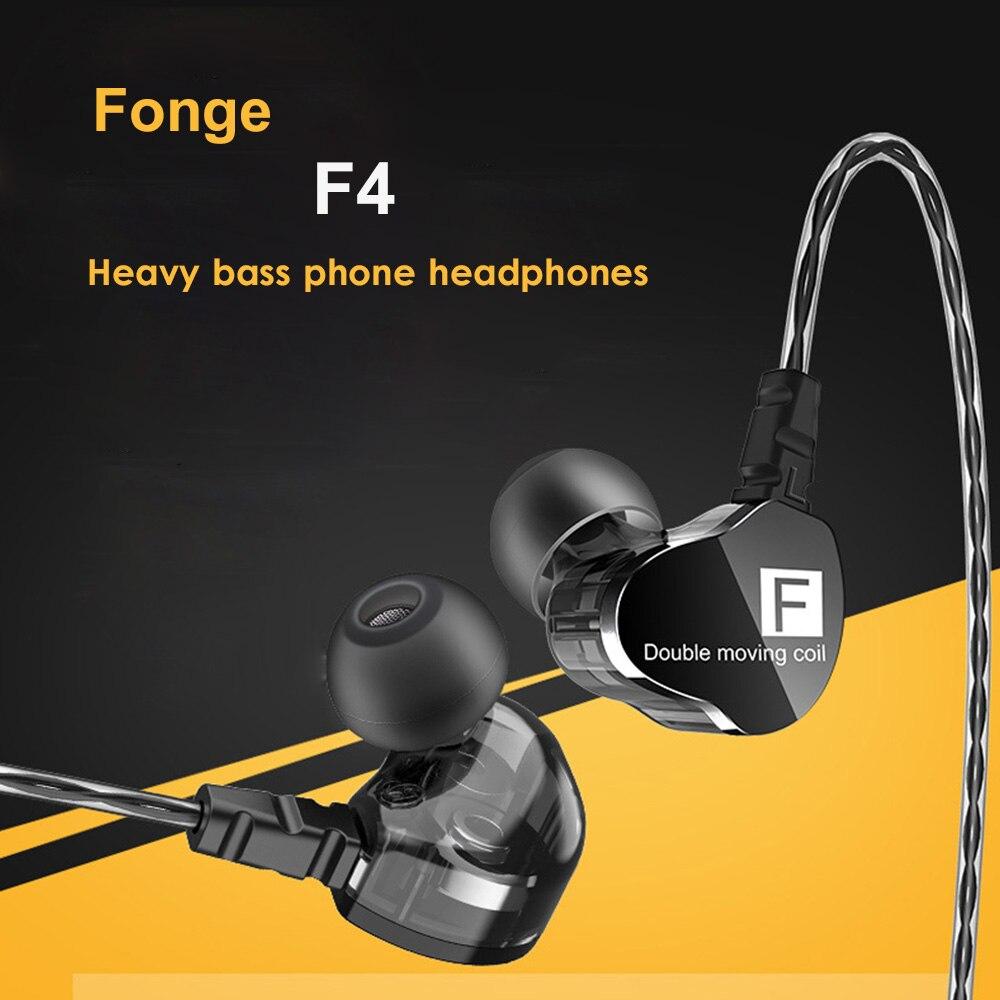 Fonge F4 HIFI DJ мониторы наушники двойной драйвер наушники Спорт стерео супер бас наушники водонепроницаемый громкой связи микрофон Q