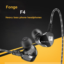 Fonge F4 HIFI DJ Monitors Earphones Dual Driver Earphones Sport Stereo Super Bass Earbuds Waterproof