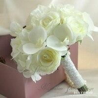 New artificial white rose Hydrangea Phalaenopsis silk flowers wedding bridal bouquet bride holding flower Bridesmaid bouquet