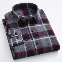 Men S Standard Fit Long Sleeve Flannel Plaid Dress Shirt Patch Chest Pocket Casual Checkered Brushed