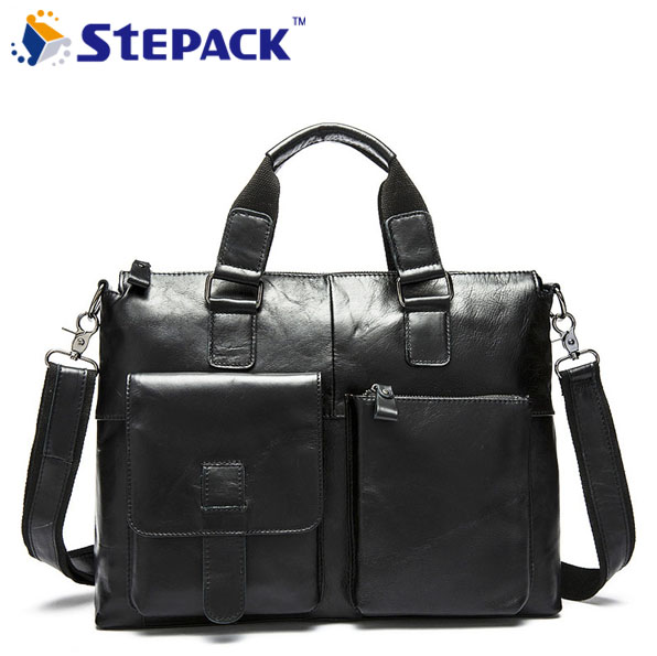 Hot Selling 100% Genuine Leather Men Buiness Bag Male Breifcase Bag Men Messenger Bag  Put Your Laptop hot selling 100