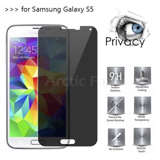 Top Kalite 2.5D Arc Kenar Anti-Spy Gizlilik Temperli Cam Samsung Galaxy S5 i9600 Ekran Koruyucu Film Güvenlik kapak Shield