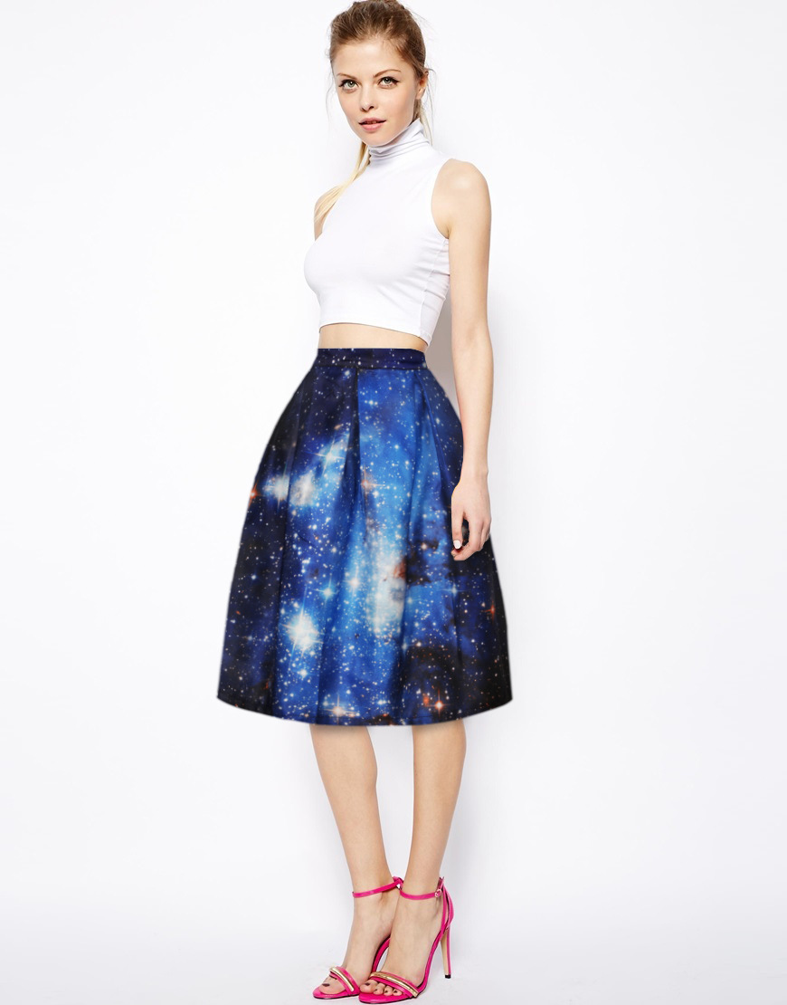 Buy 3d Print Galaxy High Waisted Pleated