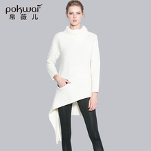 POKWAI High Quality Warm Wool Casual Sweater Women Full Sleeve Turtleneck Long Sweaters And Pullovers Winter Solid Bodysuit
