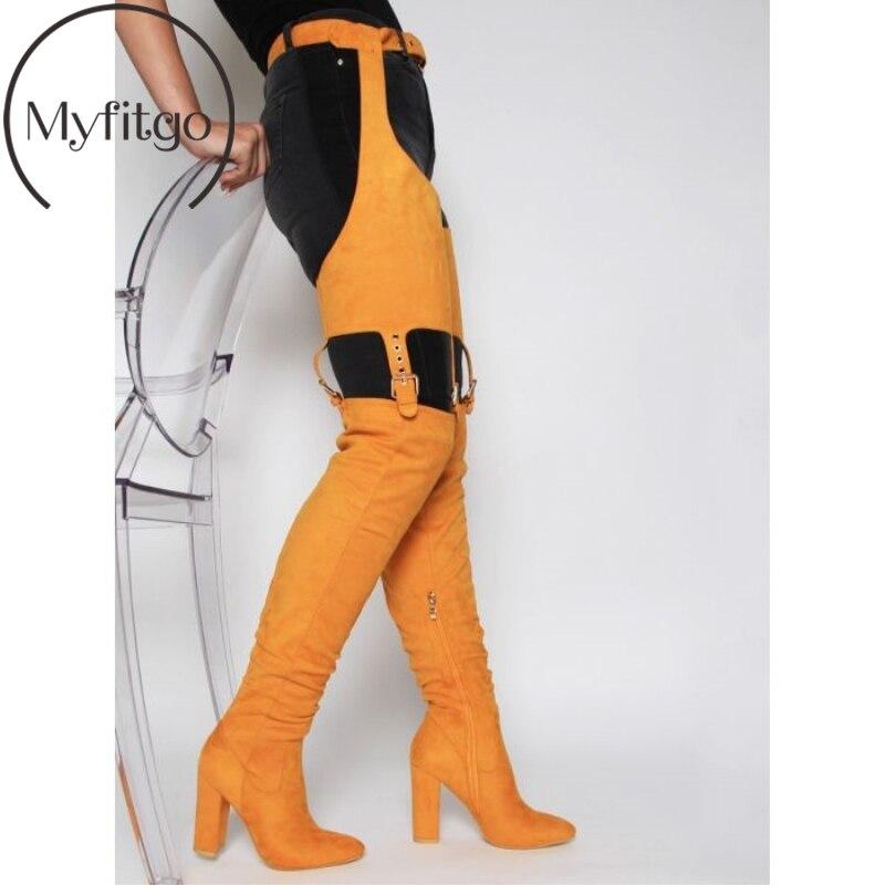 Black1 Beliebte Das Knie apricot Frauen Winter 2019 Hoch yellow Stiefel Sexy Trendy Gürtel Wildleder Über Myfitgo Oberschenkel Lang black2 Hohe Taille TzqwW7Wv