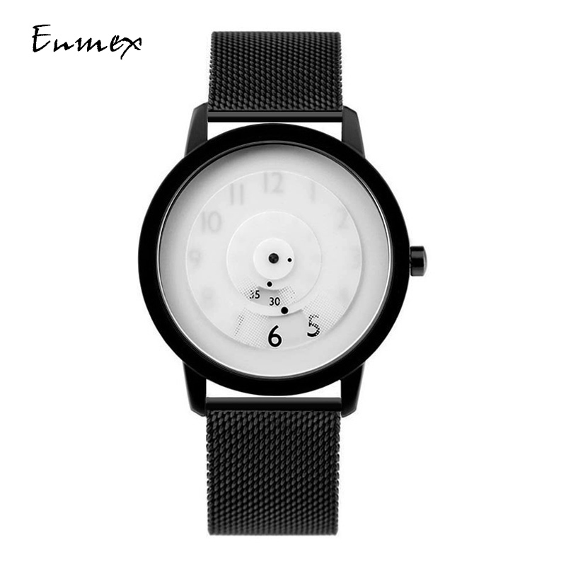 2019 Enmex creative style steel band wristwatch focal point special design Hidden numbers fashion men casual quartz  watch(China)