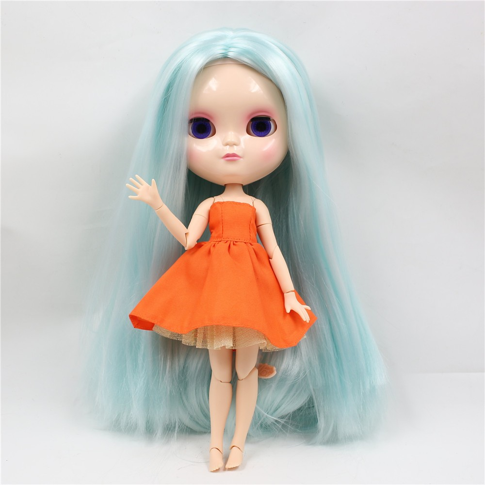 Neo Blythe Doll with Pale Blue Hair, White Skin, Shiny Face & Jointed Azone Body 1