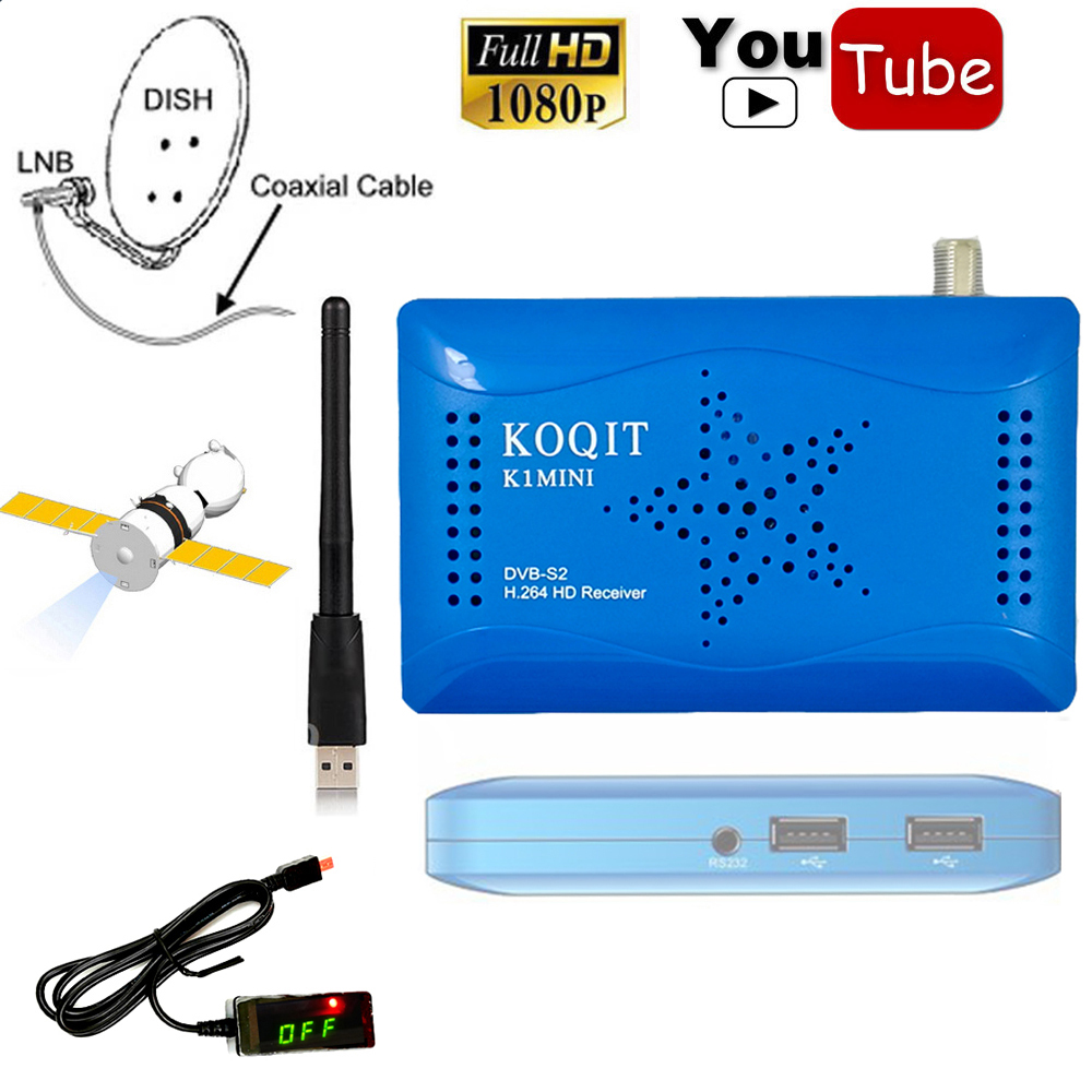 FTA 1080 p Mini Taille Numérique Récepteur Satellite USB Wifi Hôte DVB-S2 MPEG-4 HD AC3 IKS CS Cccam Newcam Puissance vu Biss Key Youtube